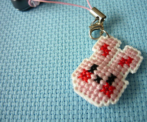 cellphone, cell phone charm, and cute keychain image