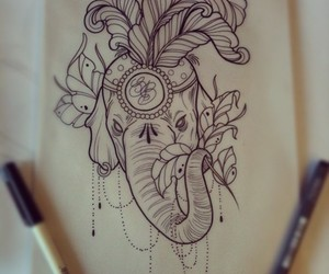 drawing, tattoo, and elephant image