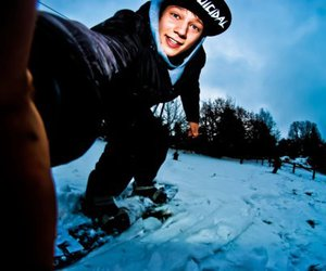 boy, snow, and snowboarding image
