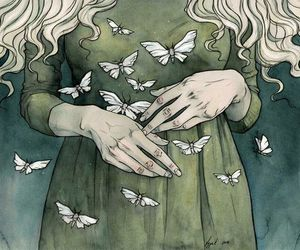 girl, green, and hands image