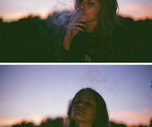 girl, smoke, and smoking image