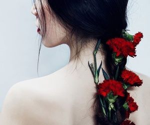 flowers, pale, and girl image