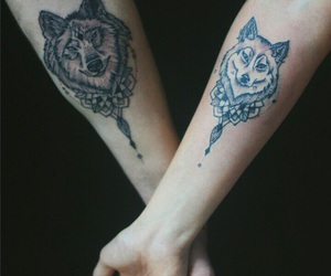 tattoo, together, and wolves image