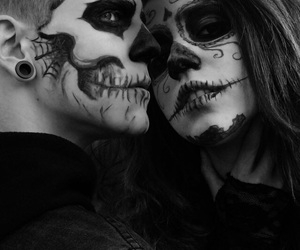 couple, Halloween, and skull image