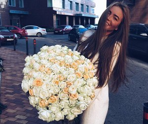 girl, flowers, and beauty image