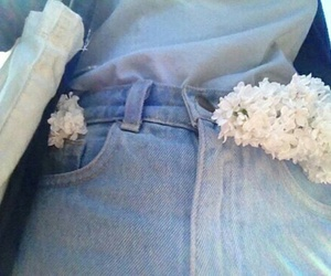 blue, flowers, and jeans image