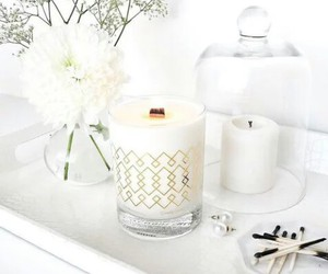white, candle, and flowers image