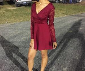 burgundy dress, beautiful, and homecoming image