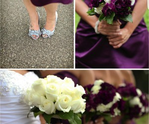 dress, purple, and wedding image