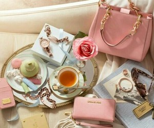 pink, bag, and tea image