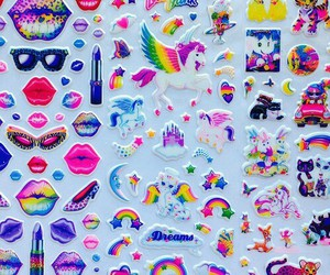 sticker, rainbow, and unicorn image