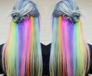 hair, rainbow, and style image
