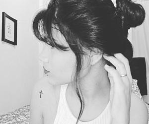black, cabelos, and preto e branco image