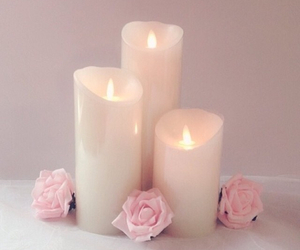 candle, rose, and flowers image