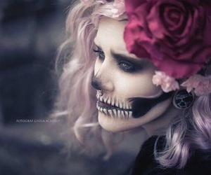 dia de muertos, halloween costume, and facial art image