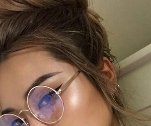 Black Eyeliner, faux freckles, and circle glasses image
