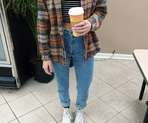 cup of coffee, white converse, and light blue jeans image