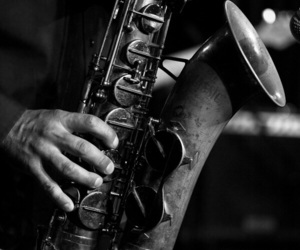 black and white, music, and saxophone image