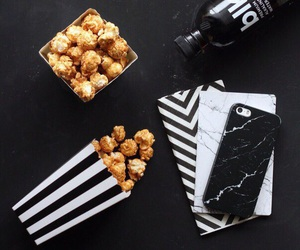 black, popcorn, and white image