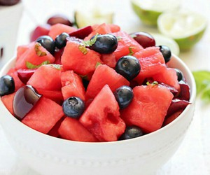 fruit salad, healthy, and summer image
