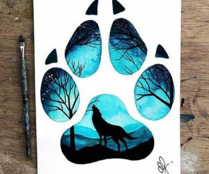 art, wolf, and blue image