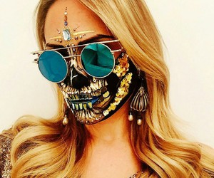 Halloween, gold, and skull image