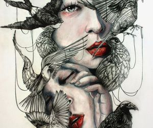 art, raven, and red lips image