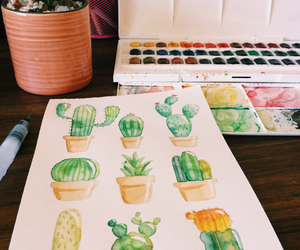 artwork, cactus, and illustration image