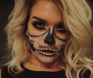 makeup, Halloween, and skull image