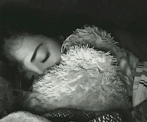 black and white, girl, and teddy bear image
