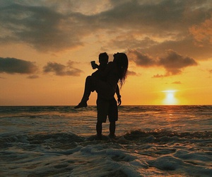 beach, love, and sunset image