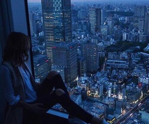 city, girl, and night image