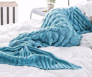 blanket, blue, and mermaid image