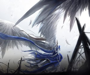 angel, feather, and anime image