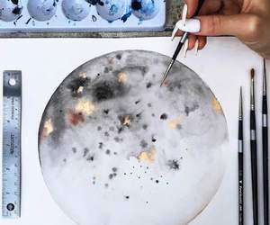 paint, art, and moon image