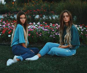 fashion, flowers, and sisters image