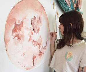 art, girl, and pink image