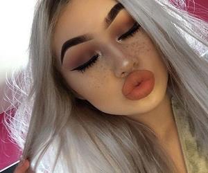 eyebrows, girl, and hair image