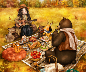 art, girl, and autumn image