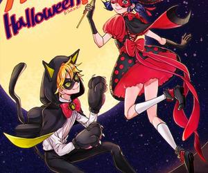 anime girl, Chat Noir, and miraculous ladybug image