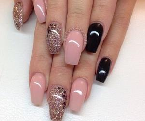 nails, black, and pink image