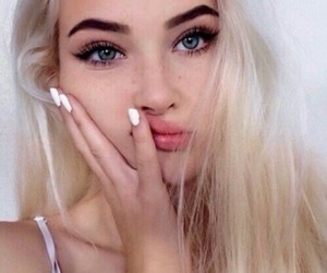 blonde, makeup, and nails image