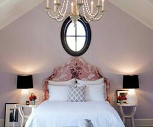 bedroom, chandelier, and home decor image
