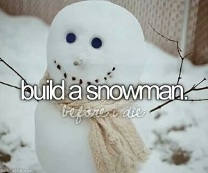 snowman, snow, and bucket list image