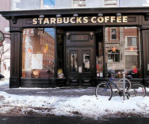 starbucks, coffee, and snow image
