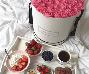roses, breakfast, and flowers image