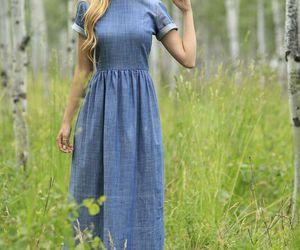 blue, denim, and dress image