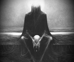 black and white, creepy, and lonliness image