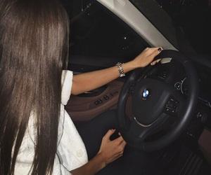 black, brunette, and car image
