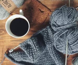 coffee, knitting, and vintage image